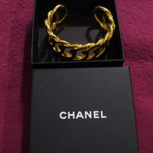 Vintage Authentic Chanel Gold Braid Cuff Bracelet
